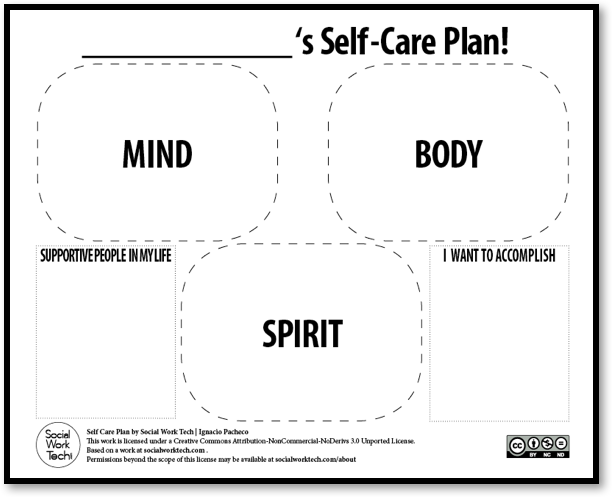 self care plan template self care 101 gsafe